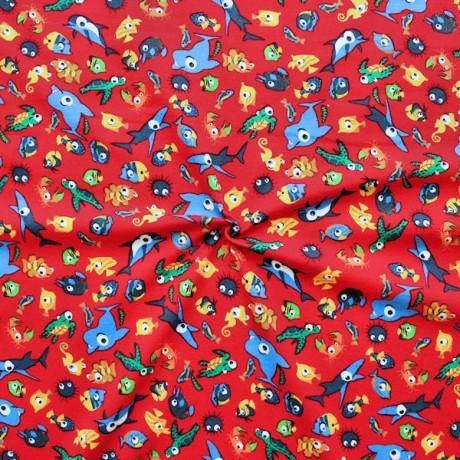 Baumwoll Stretch Jersey Sea Life Mix Rot