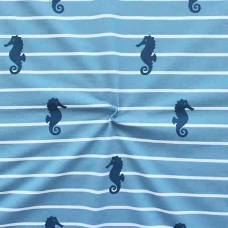 Baumwoll Stretch Jersey Seepferdchen Blau
