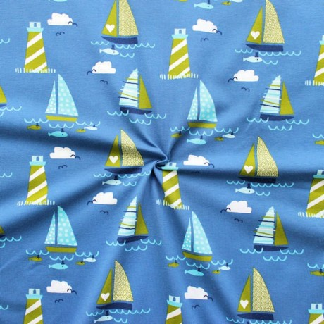 Baumwoll Stretch Jersey Segelboote Blau