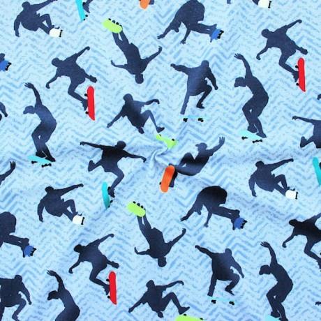 Baumwoll Stretch Jersey Skater Blau