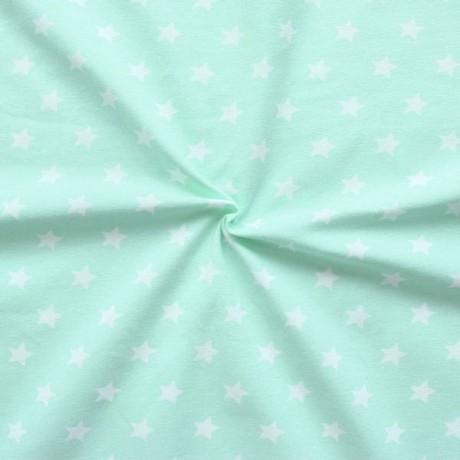 Baumwoll Stretch Jersey Sterne Mint-Grün Weiss