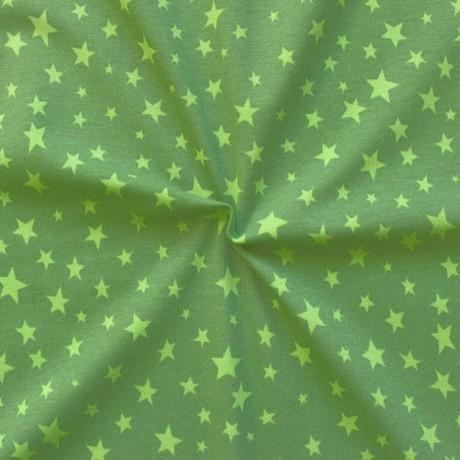 Baumwoll Stretch Jersey Sterne Mix Olivgrün