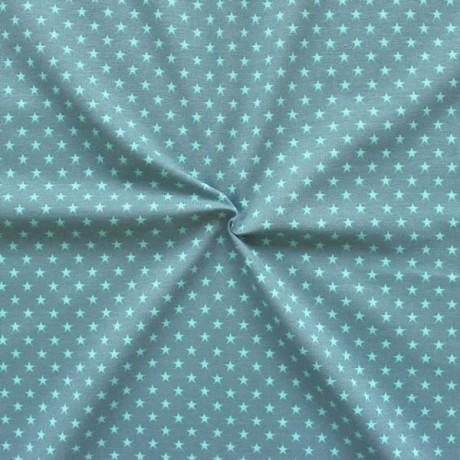 Baumwoll Stretch Jersey Sterne klein Blau-Grau Türkis