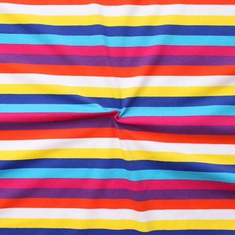 Baumwoll Stretch Jersey Streifen Mix Multicolor