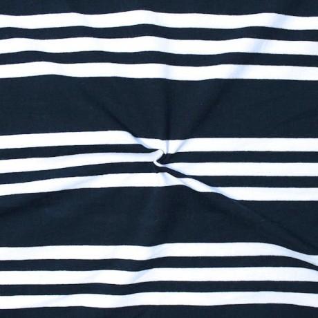 Baumwoll Stretch Jersey 3-Stripes Dunkel-Blau Weiss