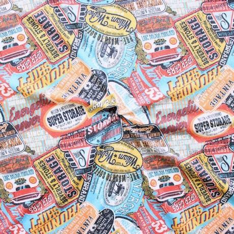 Baumwoll Stretch Jersey Vintage Schilder Multicolor