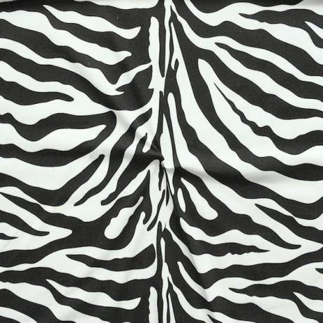 Baumwoll Stretch Jersey Zebra Print Schwarz Weiss