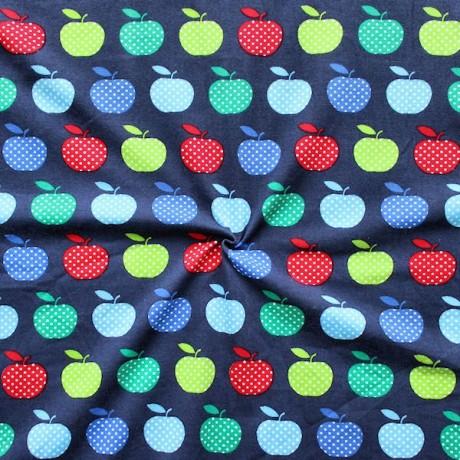 Baumwoll Stretch Jersey Äpfel Dunkel-Blau