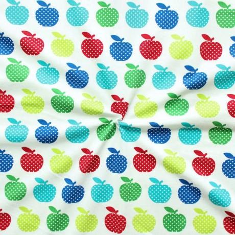 Baumwoll Stretch Jersey Äpfel Weiss