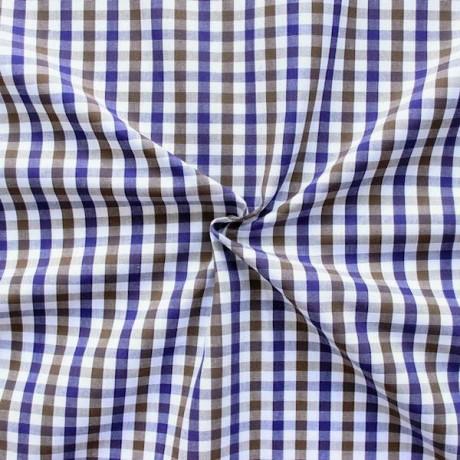 Baumwollstoff Hemden Karo Braun Weiss Lila