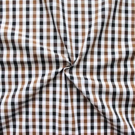 Baumwollstoff Hemden Karo Braun-Weiss-Schwarz