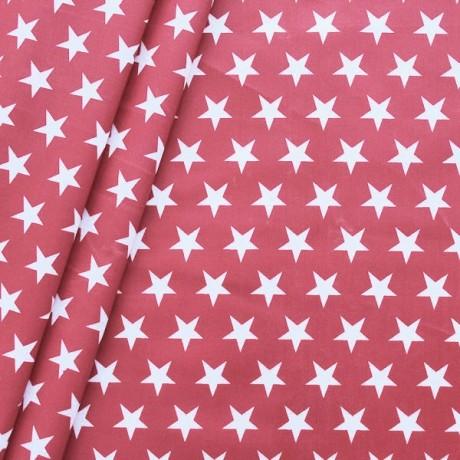 Baumwollstoff beschichtet Sterne Groß Rot