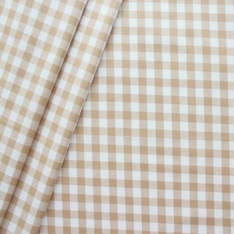Baumwollstoff beschichtet Vichy Karo groß Beige Weiss