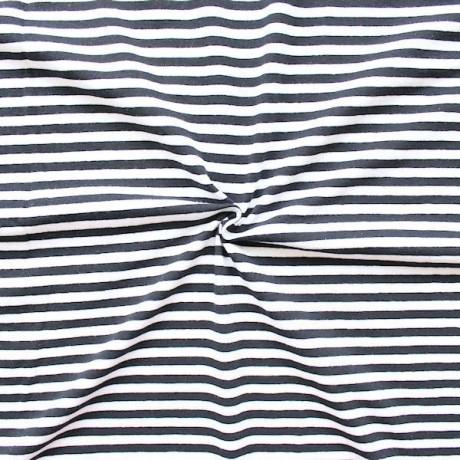 Baumwoll Stretch Jersey Ringel Streifen Weiss Dunkel-Blau