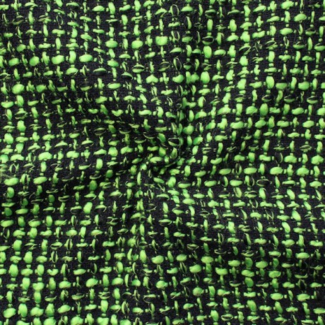Bouclé Strick- Modestoff Schwarz-Grün