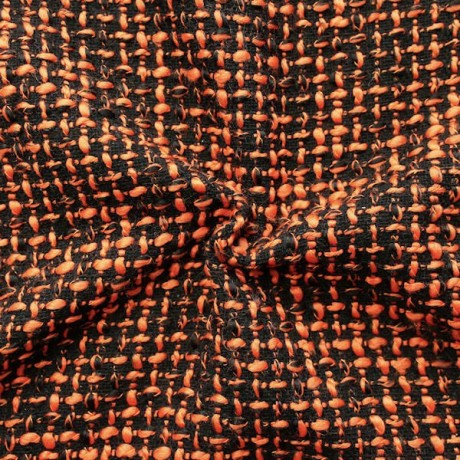 Bouclé Strick- Modestoff Schwarz-Orange