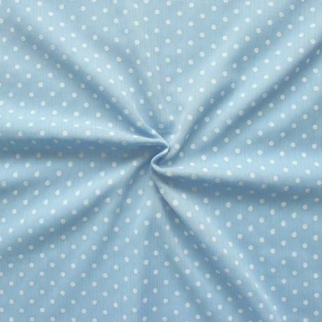 Crêpe Chiffon beflockt Punkte Pastell-Blau