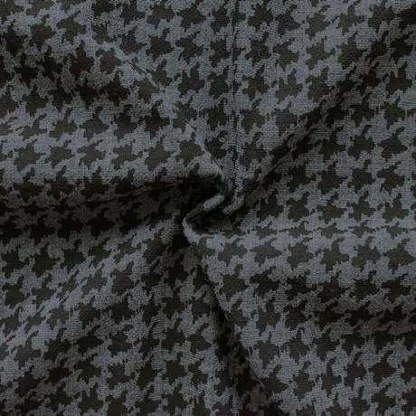 Wollstoff Hahnentritt Grau Schwarz