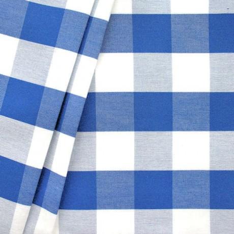 Dekostoff Outdoorstoff Karo groß Blau-Weiss