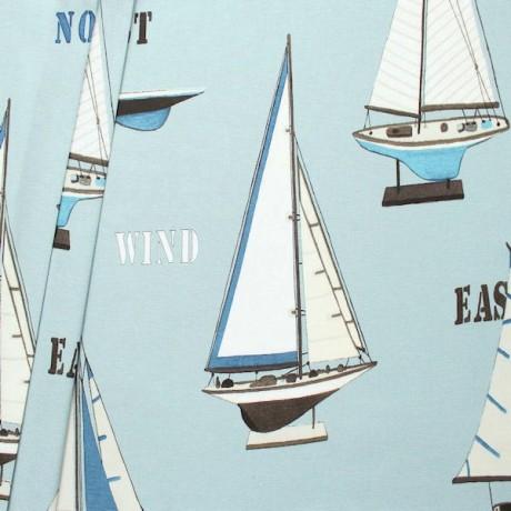 Dekostoff Breite 280cm Segelboot Modelle XL Pastell-Blau