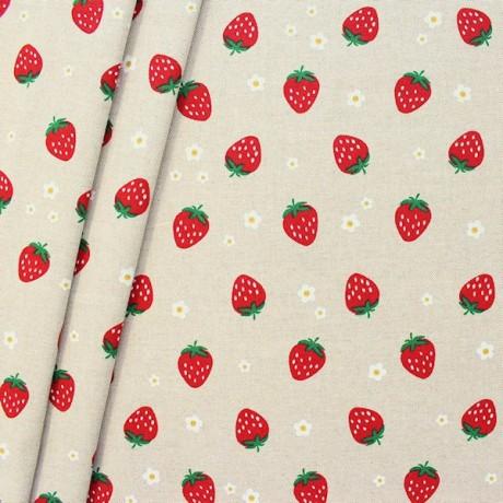 Dekostoff Erdbeeren und Blüten Natur