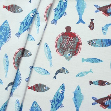 Dekostoff Fische Mix Weiss