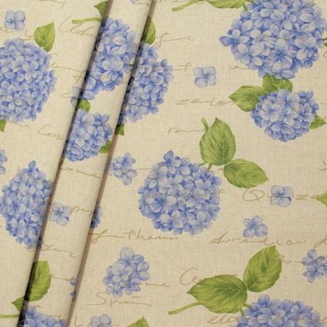 Dekostoff Hortensie Natur Blau