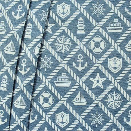 Dekostoff Maritim Mix Jeans-Blau Natur