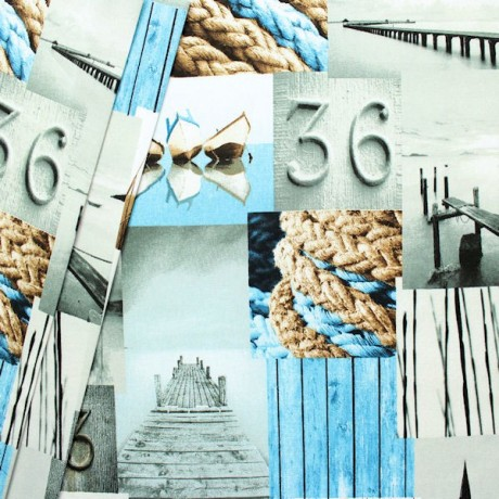 Dekostoff Maritime Romantik Blau-Grau