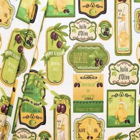 Dekostoff Olivenmuster Farbe Weiss