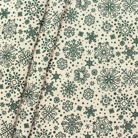 Dekostoff Schneekristalle Natur-Grün
