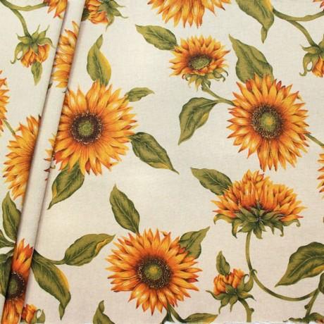 Dekostoff Sonnenblumen XL Natur