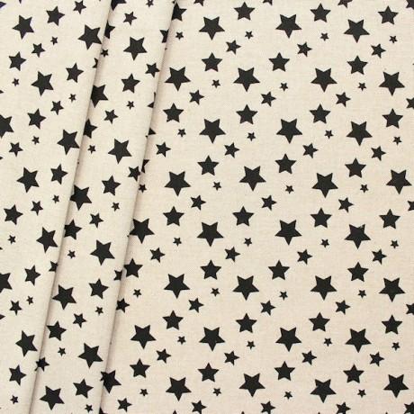 Dekostoff Sterne Mix Natur Schwarz