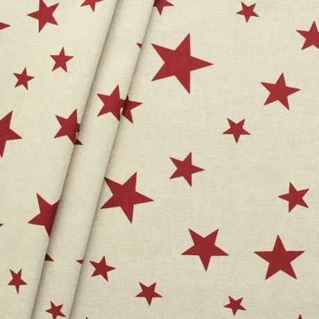 Dekostoff Sterne Mix Natur Rot