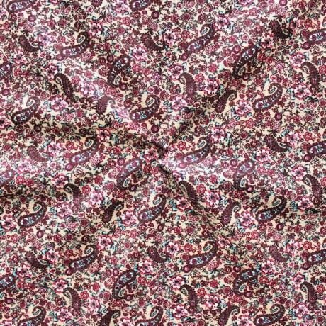 Feincord Baumwollstoff Blumen Paisley Beige