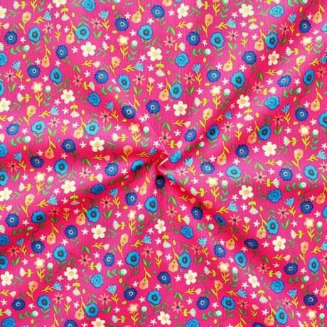 Feincord Baumwollstoff Blumenwiese Pink