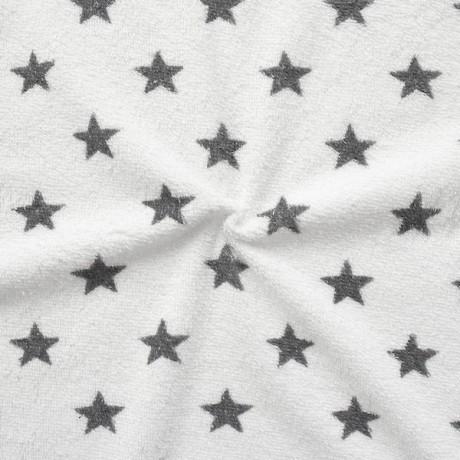 Frottee Baumwollstoff Sterne Weiss