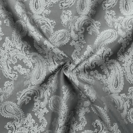 Futterstoff Jacquard Paisley Silber-Grau