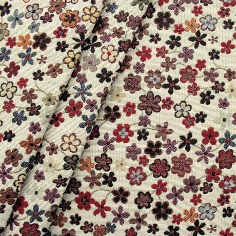 Gobelin Möbelstoff / Dekostoff Blumen Weiss-Beige