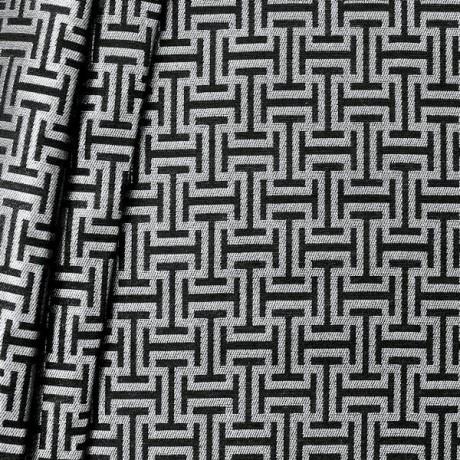 Jacquard Dekostoff Labyrinth Silber-Schwarz