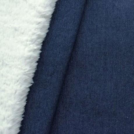 Jeansstoff Teddyplüsch Dunkel-Blau