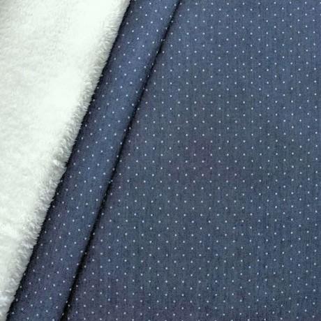 """Jeansstoff Teddyplüsch """"Mini Dots"""" Dunkel-Blau"""