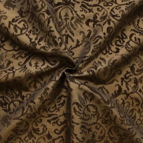 Kleider- / Deko Taft beflockt Gold-Braun changierend
