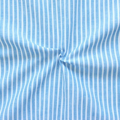 Leinen-Baumwolle Streifen Capri-Blau