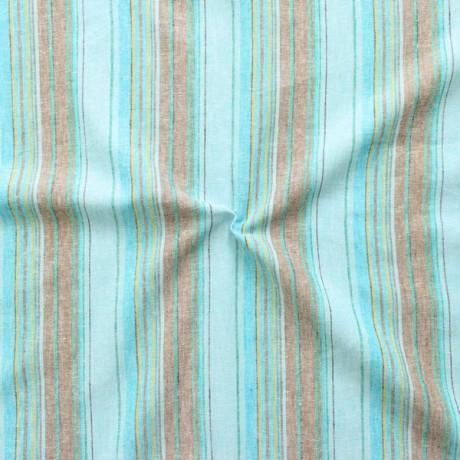 Leinen-Baumwolle Streifen Mix Blau-Türkis