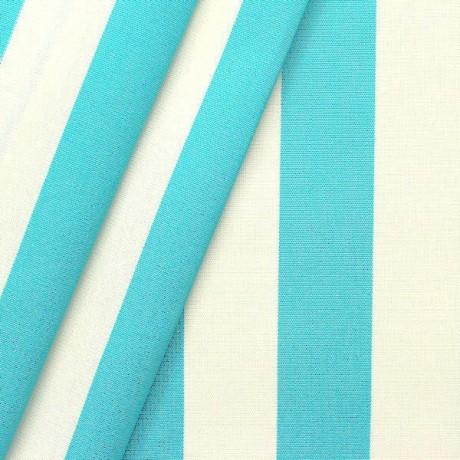 Markisenstoff Outdoorstoff StreifenTürkis-Blau Weiss