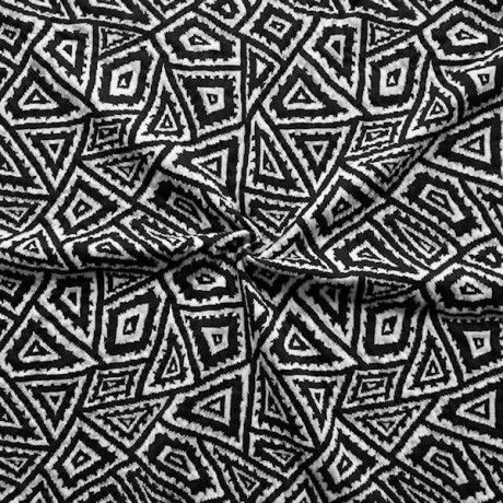 Modestoff / Dekostoff Double Cloth Ethno Schwarz Weiss-Grau