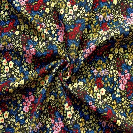 Modestoff / Dekostoff Blumen Schwarz-Blau