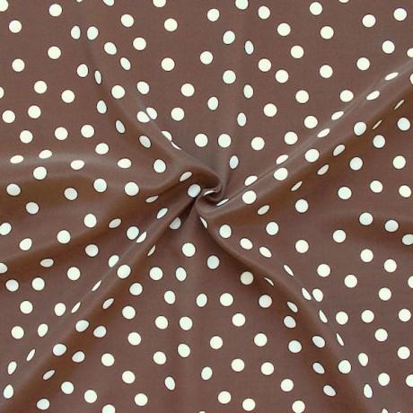 Polyester Modestoff Punkte groß Braun Weiss