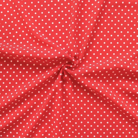 Polyester Modestoff Punkte Klein Rot-Weiss